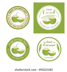 Set of fresh young coconut badge label and logo for sticker and sign