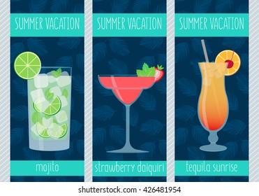 Set of freshly tropical cocktails. Mojito, Strawberry Daiquiri, Tequila Sunrise. Vector illustration.