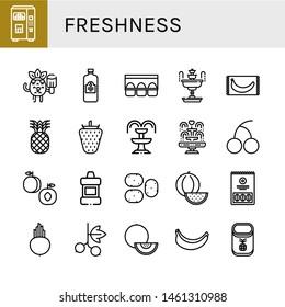 Set of freshness icons such as Juice, Popsicle, Egg carton, Fountain, Banana, Pineapple, Strawberry, Cherry, Peach, Mouthwash, Potato, Watermelon, Beet, Blackcurrant , freshness