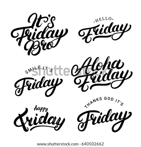 set friday quotes hand written lettering stock vector royalty free