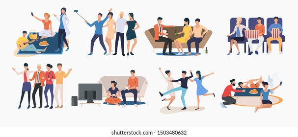 Set of friends spending time together. Group of people enjoying themselves. Happy friends concept. Vector illustration for website, landing page, online store