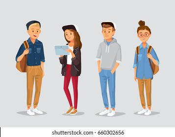 Set of friends, university fellow students classmates standing together holding books with gadgets and backpacks. Group of learners young people. Student couple. Vector illustration. Flat design.