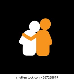 set of friendship, dependence, empathy, bonding - vector icons. this also represents concepts like responsibility, concern, care, together, sympathy, trust, faith, hope & expectation, assurance
