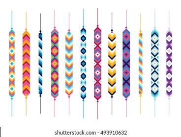 Set of friendship hippie bracelets. Multicolor vector illustration