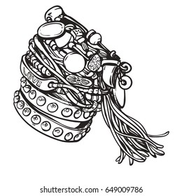 Set of friendship hippie bracelets. Vector illustration. Accessories  with gems, tassels. Vintage boho style, sixties. Details. Youth summer fashion, bohemian, hippy vibes. Coloring book for adults.
