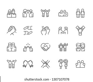 Set of friendship Related Vector Line Icons. Includes such Icons as friends, vacation, hanging out, relationship, family, girlfriend, brother, sister, support and more. - vector