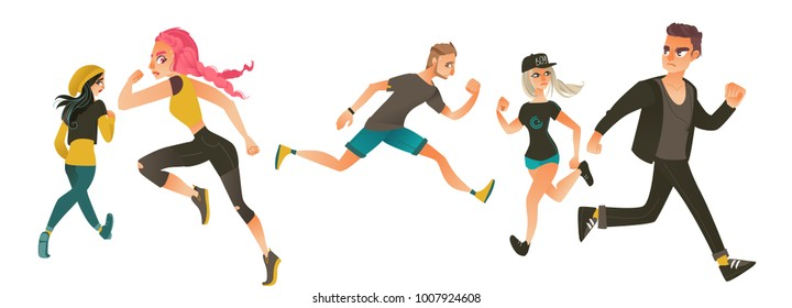 Set of frightened, scared people, men and women, running away in fear and panic, flat cartoon vector illustration isolated on white background. Scared young people running away from something