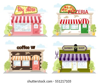 Set of front facade buildings: toy store, cafe pizzeria and barber shop with a sign, awning and symbol in shopwindow. Abstract image in a flat design. Vector illustration isolated on white background