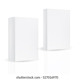 Set of front hard cover thick and thin book on isolated white background. Mock-up template ready for design.