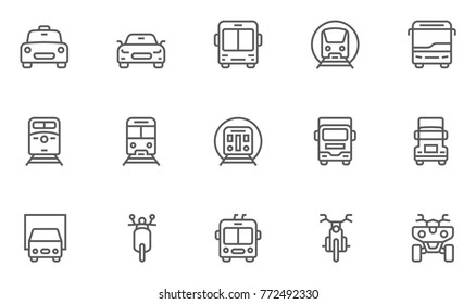 Set of Front View Transport Vector Line Icons. Editable Stroke. 48x48 Pixel Perfect.