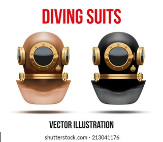 Set Front view of Underwater diving suit scuba helmet. Water leisure, old style. Editable Vector Illustration Isolated on white background