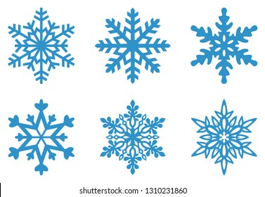 Set of Frosty snowflakes on an isolated white background.