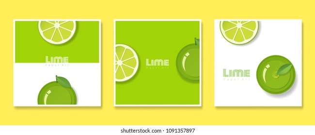Set of fruit banners with lime in paper art style , vector , illustration