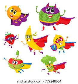 Set of fruit and berry hero, superhero characters in capes and masks, cute cartoon vector illustration isolated on white background. Funny cartoon fruit and berry hero, superhero character set