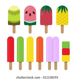 Set of fruit ice cream bar in flat style