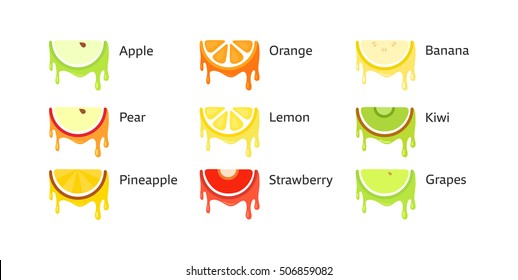 Set of Fruit Icons in original style isolated on white background with captions. Vector Illustrations.