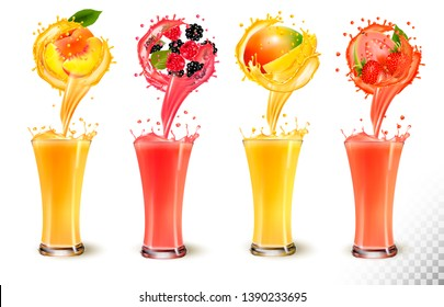 Set of fruit juice splash in a glass. Strawberry, peach, raspberry, mango, blackberry and guava. Vector