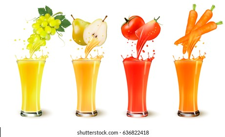 Set of fruit juice splash in a glass. Grapes, pear, tomato and carot. Vector