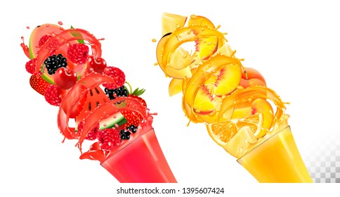 Set of fruit juice splash in glasses. Strawberry,  blackberry, raspberry, watermelon, pineapple, mango, peach. Vector.