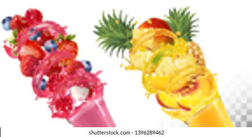 Set of fruit juice splash in glasses. . Strawberry, raspberry, blueberry, pineapple, mango, peach, lychee. Vector.