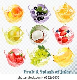 Set of fruit juice splash . Peach, orange, pear, grapes, banana, coconut, blueberry, strawberry, raspberry and blackberry. Vector