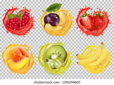 Set of fruit juice splash. Raspberry, plum, strawberry, banana, kiwi, peach, raspberry, Vector