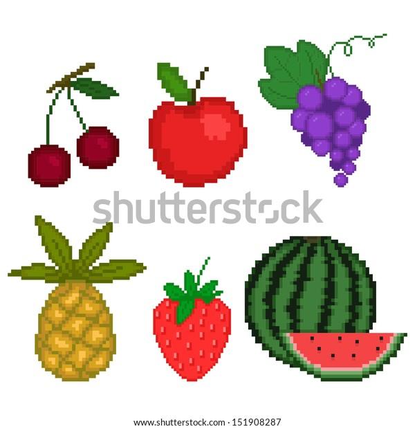 Image Vectorielle De Stock De Set Fruit Pixel Art Style On 151908287