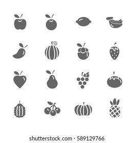 Set of  Fruit Vector Icons. Includes pineapple, orange, strawberry, apple and more.