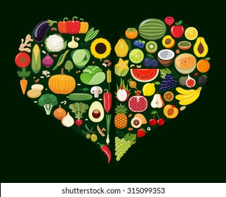 Set of fruit and vegetable icons forming heart shape. Vegetarian food icons. Healthy low fat food preventing cardiac disease. Vector illustration.