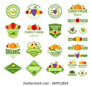 Set of fruit and vegetables logo