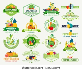 Set of fruit and vegetables logo for groceries, agriculture stores, packaging and advertising