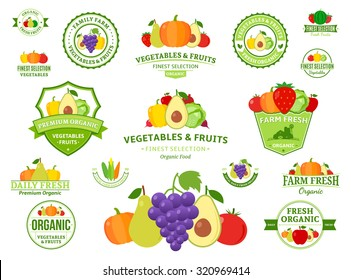 Set of fruit and vegetables logo templates for groceries, agriculture stores, packaging and advertising.