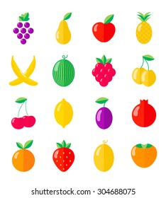 Set of fruits and berries. Flat vector illustrations. Isolated objects on white background.