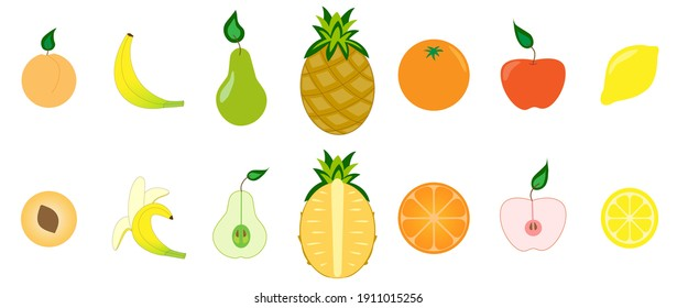 Set of fruits. Collection of juicy natural citrus and garden fruits. Assorted whole and sliced fruits on a white background. Vegetarian food. Organic products, flat design style. Vector illustration