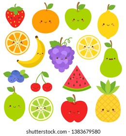 Set of fruits with cute faces vector collections. Kawaii emoji fruit clip art design. Apple, lemon, banana, orange, pear, pineapple, grapes, cherries, strawberry, and blueberries. Eps10 graphic.