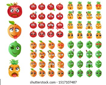Set of fruits. Emoji Emoticon Expression. Peach, pineapple, garnet, lime