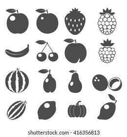 Set of Fruits icons. Flat Design. Vector Illustration