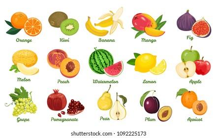 Set of fruits isolated on white background. Grape, Orange, Kiwi, Banana, Mango, Fig, Melon, Peach, Watermelon, Lemon, Apple, Pomegranate, Pear, Plum, Apricot. Vector bright color flat illustration.