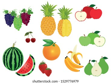 Set of Fruits isolated on white background. oranges, grapes, apples, pears, cherries, strawberries, pineapple, bananas