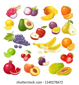 Set fruits. Mango, lime, banana, maracuya, avocado, dragon, lemon, orange, garnet, peach, apple, pear, grape, plum, passion, papay, persimmon, cherry. Vector color flat illustration isolated on white