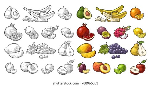 Set fruits. Mango, lime, banana, maracuya, avocado, dragon, lemon, orange, garnet, peach, apple, pear, grape, plum, passion. Vector black vintage engraving illustration isolated on white
