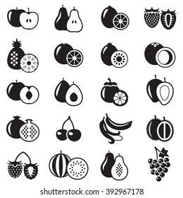 Set of fruits monochrome icons vector illustration