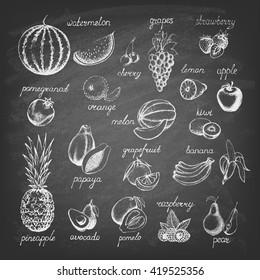 Set of fruits on the blackboard. Hand drawn elements. Vector illustration.
