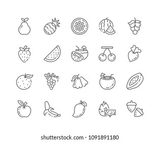 Set of Fruits outline icons isolated on white background. Editable stroke. 64x64 Pixel Perfect.