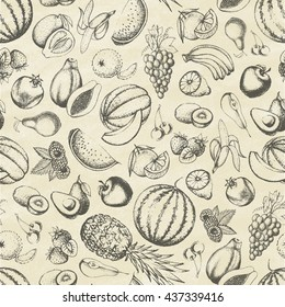 Set of fruits. Seamless pattern. Hand drawn elements. Vector illustration.