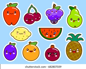 set of fruits smiley face kawaii. Flat design Vector Illustration