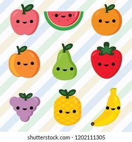 set of fruits smiley face Vector Illustration for kids