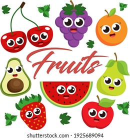 set of fruits, symbol of summer. design for holiday greeting card and invitation of seasonal summer holidays, tourism and travel.