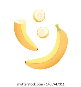 Set of fruits with their slices. Vector illustration with textured banana whole and peaces isolated on white