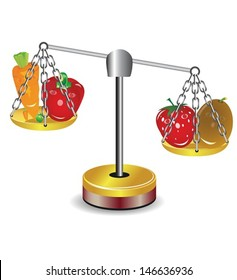Set of fruits and vegetables in the balance, for your ideas. EPS 10